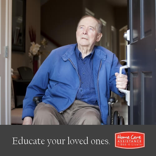 Elderly Man Opening Door