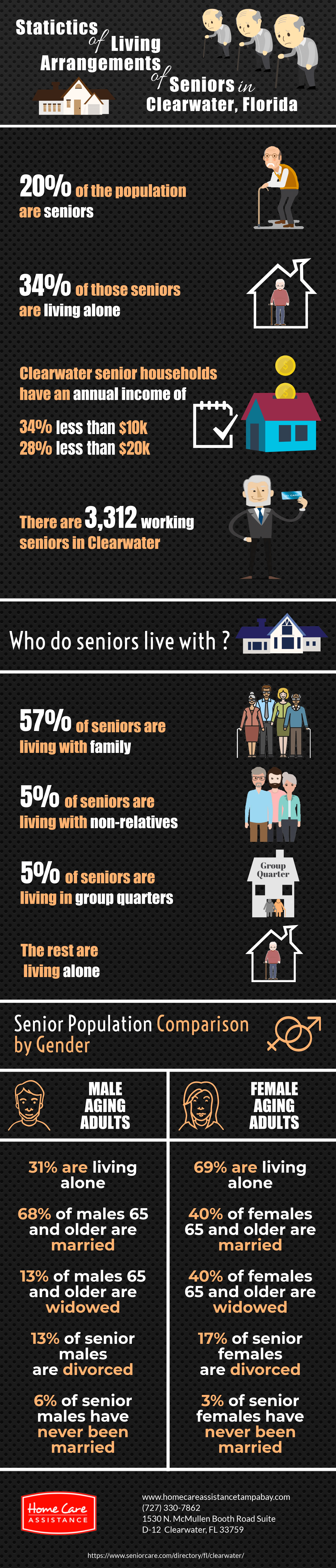Statistics of Living Arrangements of Seniors in Clearwater, Florida